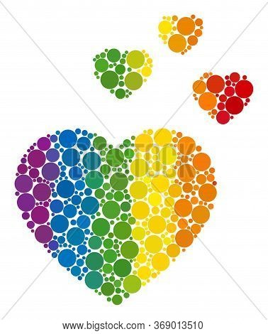 Favorite Hearts Composition Icon Of Round Dots In Various Sizes And Rainbow Colored Shades. A Dotted