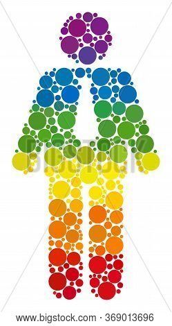 Groom Composition Icon Of Spheric Blots In Variable Sizes And Spectrum Colored Color Hues. A Dotted