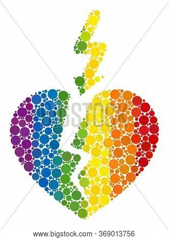 Break Heart Collage Icon Of Spheric Dots In Various Sizes And Rainbow Color Tones. A Dotted Lgbt-col