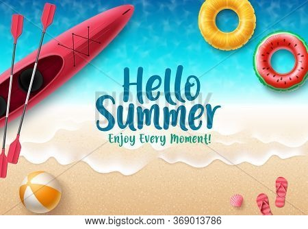 Hello Summer Vector Banner Design. Hello Summer Text With Colorful Beach Elements Like Beach Ball, F