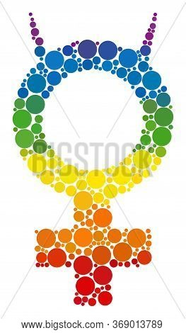 Devil Female Symbol Mosaic Icon Of Spheric Blots In Various Sizes And Rainbow Color Hues. A Dotted L