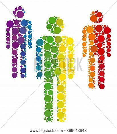 Men Figures Collage Icon Of Spheric Blots In Variable Sizes And Rainbow Colored Color Hues. A Dotted