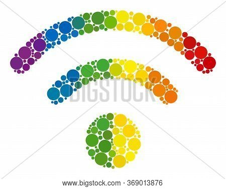 Wi-fi Source Collage Icon Of Filled Circles In Different Sizes And Spectrum Colored Color Tints. A D
