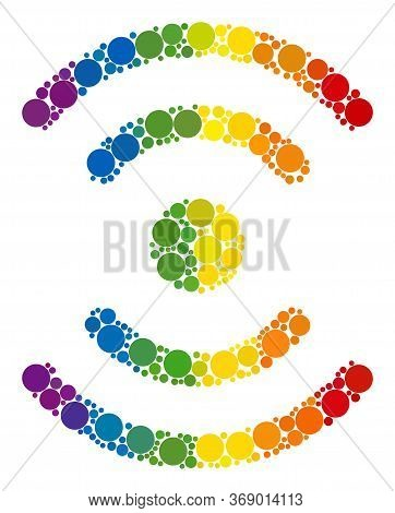 Radio Source Composition Icon Of Spheric Dots In Different Sizes And Spectrum Colored Color Tones. A