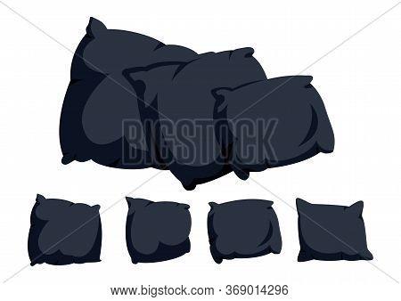Black Pillow Flat Cartoon Set. Home Interior Textile. Three Dark Square Pillows Mockup Cushion Templ