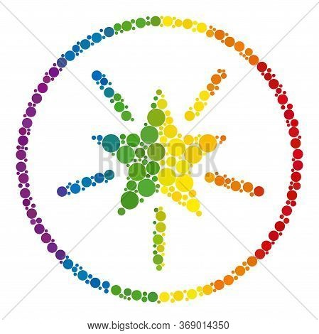 Rounded Shine Star Collage Icon Of Filled Circles In Different Sizes And Rainbow Colored Color Tinge