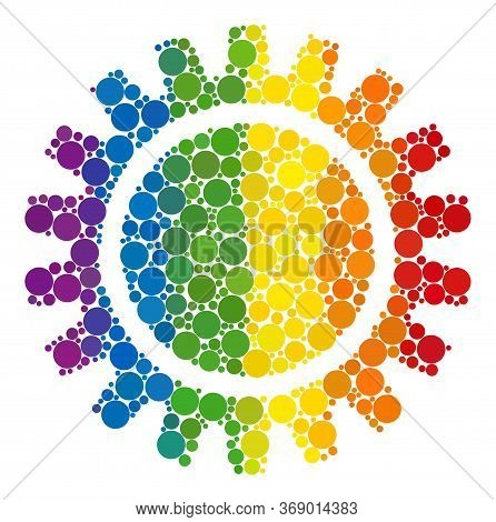 Cogwheel Composition Icon Of Circle Elements In Different Sizes And Spectrum Color Hues. A Dotted Lg