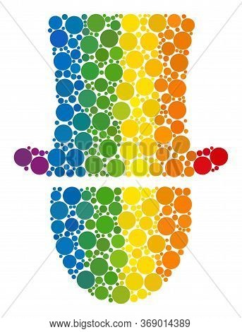 Hat Man Mosaic Icon Of Circle Elements In Variable Sizes And Spectrum Colored Color Tinges. A Dotted