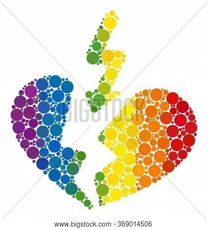 Breakup Heart Composition Icon Of Circle Elements In Various Sizes And Rainbow Color Tones. A Dotted