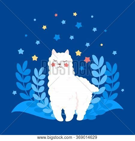 Alpaca Or Llama, Cute Cartoon White Character. Funny Flat Smiling Animal. Cute Lama With Plants And