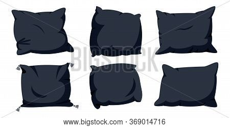 Black Pillow Flat Cartoon Set. Home Interior Soft Textile. Six Square Pillows Mockup Template. Dark