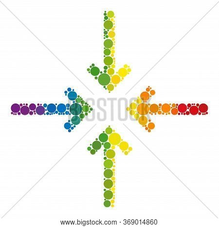 Reduce Arrows Mosaic Icon Of Round Items In Variable Sizes And Spectrum Colored Color Tones. A Dotte