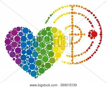 Love Heart Radar Collage Icon Of Circle Spots In Variable Sizes And Rainbow Bright Color Tinges. A D
