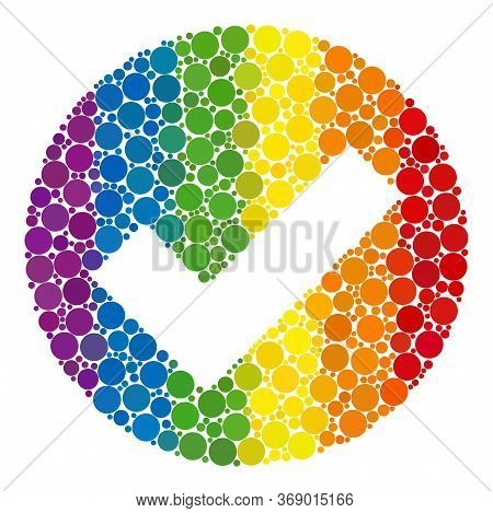 Valid Composition Icon Of Circle Spots In Different Sizes And Rainbow Bright Color Tints. A Dotted L