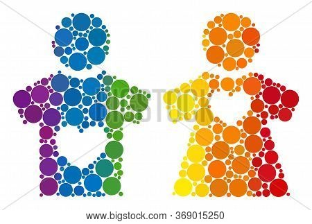 Lovers Pair Composition Icon Of Circle Elements In Variable Sizes And Spectrum Color Tones. A Dotted