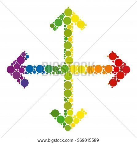 Enlarge Arrows Collage Icon Of Circle Elements In Variable Sizes And Spectrum Colored Color Tints. A