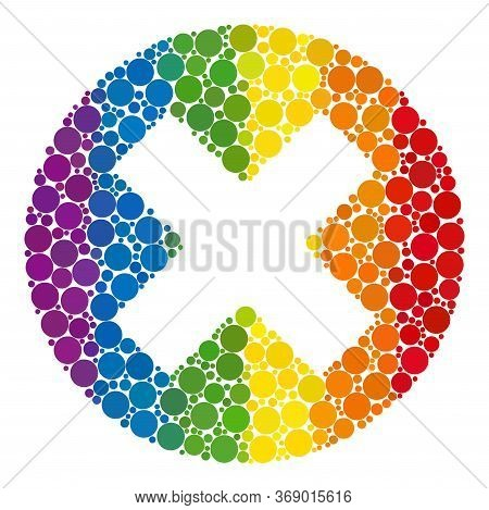 Delete Collage Icon Of Filled Circles In Different Sizes And Rainbow Bright Color Tints. A Dotted Lg