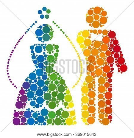 Newlyweds Composition Icon Of Circle Spots In Different Sizes And Rainbow Multicolored Color Tints.