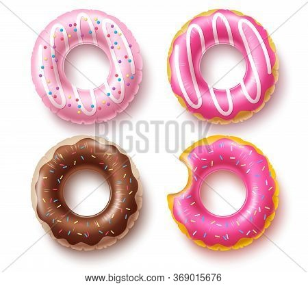 Summer Floater Donuts Set Vector Design. Inflatable Swim Rings And Rubber Toy Swimming Elements Isol