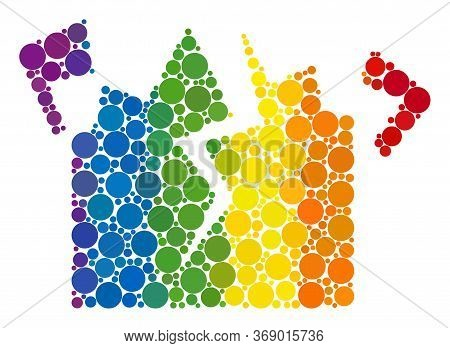 Destruction Mosaic Icon Of Circle Elements In Different Sizes And Rainbow Colored Color Tones. A Dot