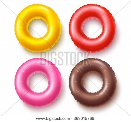 Summer Swim Rings Set Vector Design. Colorful Inflatable Rubber Toy And Swimming Circles With Differ