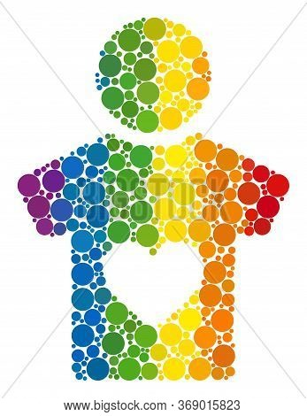 Lover Boy Mosaic Icon Of Spheric Blots In Various Sizes And Spectrum Color Tones. A Dotted Lgbt-colo