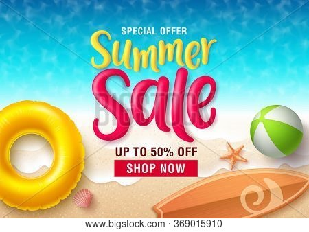 Summer Sale Vector Banner Design. Summer Sale Discount Text In Seaside Top View Background With Beac