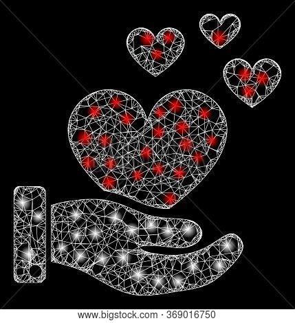 Glare Web Mesh Hand Offer Love Hearts With Glowing Spots. Illuminated Vector 2d Model Created From H