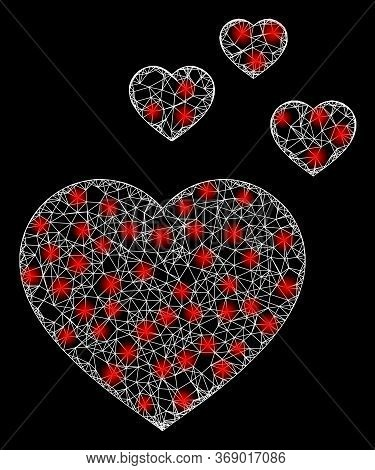 Glare Web Mesh Favorite Hearts With Light Spots. Illuminated Vector 2d Constellation Created From Fa
