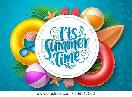 Summer Time Vector Banner Template. It's Summer Time Typography In White Circle Space For Text With