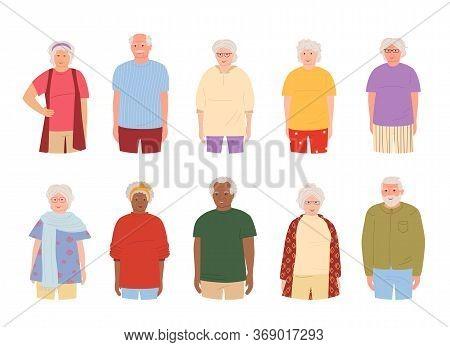 Old People, Elderly Group Smiling, Cartoon Set. Grandparents Different Nations Representatives Elder