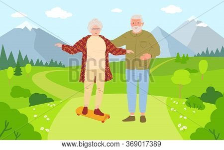 Old Men And Women Riding Skateboards Cartoon. Healthy Active Lifestyle Older People. Summer Outdoor