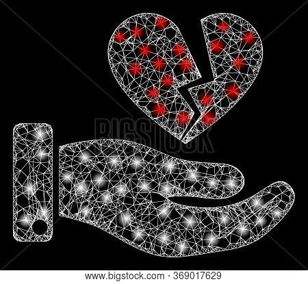 Glowing Web Network Break Heart Offer With Glowing Spots. Illuminated Vector 2d Model Created From B