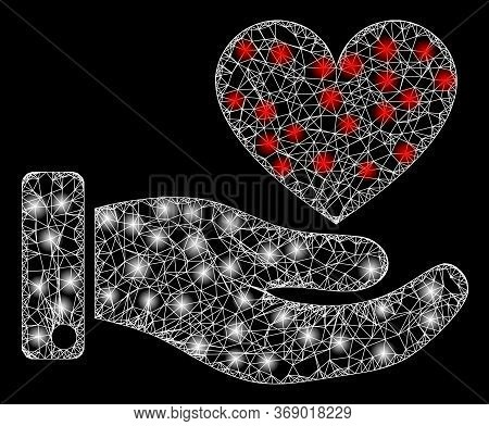 Bright Web Mesh Hand Offer Love Heart With Lightspots. Illuminated Vector 2d Constellation Created F
