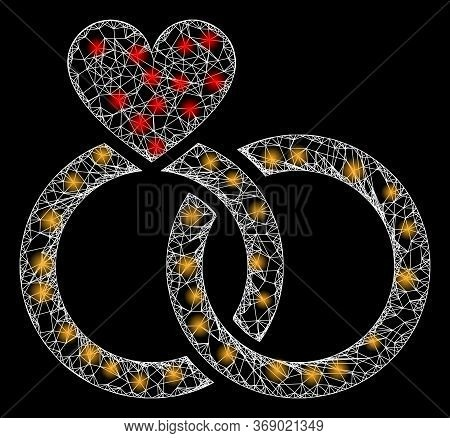 Glowing Web Mesh Wedding Rings With Light Spots. Illuminated Vector 2d Model Created From Wedding Ri