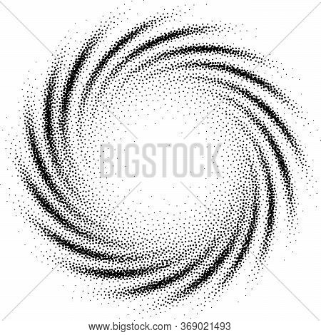 Abstract Spiral Background. Black And White Halftone Stipple Dots Pattern. Rgb. Global Color
