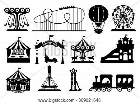 Amusement Park Black Glyph Set. Carousel Silhouette Cartoon Style. Fairground, Rollercoaster, Carous