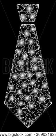 Bright Web Mesh Male Tie With Lightspots. Illuminated Vector 2d Constellation Created From Male Tie