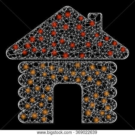 Glowing Web Net Wooden House With Light Spots. Illuminated Vector 2d Constellation Created From Wood