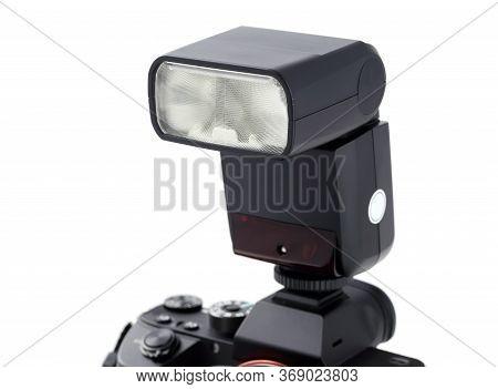 Photo Camera Body With Flash Isolated On White Background