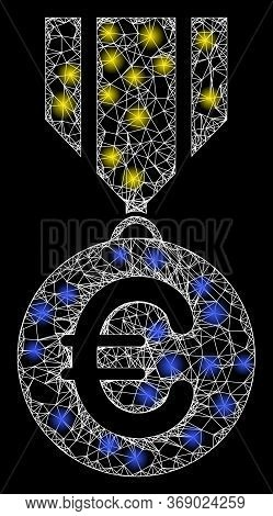 Glare Web Mesh Euro Medal With Light Spots. Illuminated Vector 2d Constellation Created From Euro Me