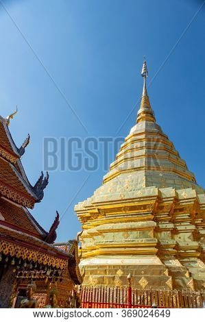 Wat Phra That Doi Suthep Temple,the Temple Is 689 Meters High From The Plains Of Chiang Mai And 1,04