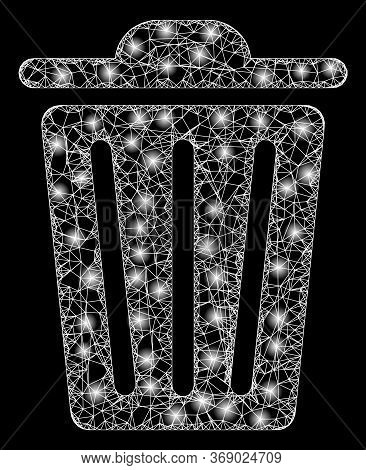 Glare Web Network Trash Can With Lightspots. Illuminated Vector 2d Constellation Created From Trash