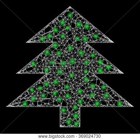 Shiny Web Mesh Fir Tree With Lightspots. Illuminated Vector 2d Model Created From Fir Tree Icon. Spa