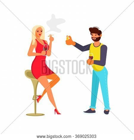 Man Gives A Cigarette A Cigarette To A Beautiful Woman In A Bar. Cigarette Smoking Concept. Flat Art
