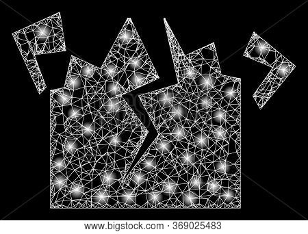 Glowing Web Mesh Destruction With Glowing Spots. Illuminated Vector 2d Constellation Created From De