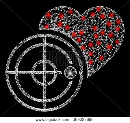 Glare Web Network Love Heart Radar With Light Spots. Illuminated Vector 2d Model Created From Love H