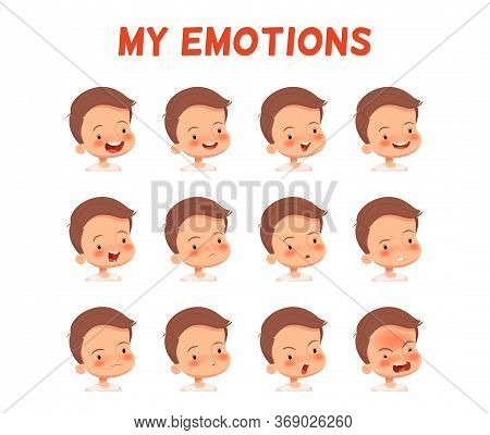 Set Of Different Emotions Of A Boy. Poster For The Development Of Emotional Intelligence In Children