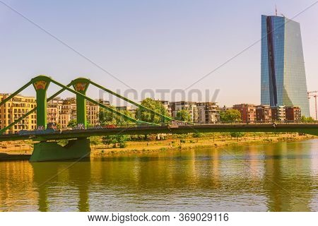 Frankfurt,germany - May 16,2020:floesserbridge This Is The Sunny View To The Big European Central Ba