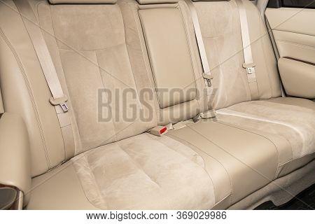 Novosibirsk/ Russia - April 11, 2020:  Nissan Teana, Comfort Car Inside. Clean Car Interior: White B